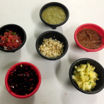 6 Salsas prepared by Chef Philip Feder for his Street Tacos and Salsas class. Salsas include Pineapple Salsa, Smoked Corn Salsa, Beet Salsa, Watermelon Salsa, Charred Veggie Salsa, and Tomatillo Salsa